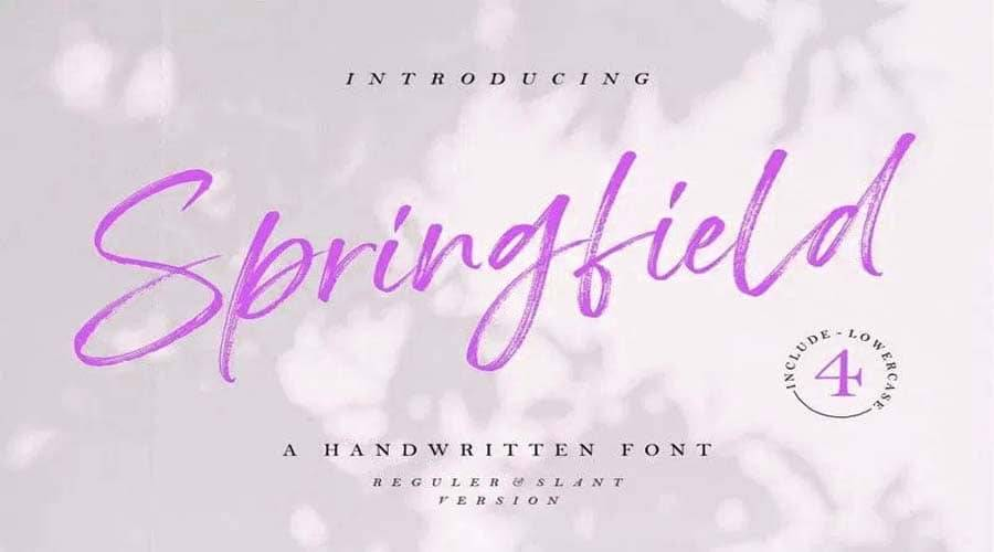 Springfield Hand Brush Font Free Download