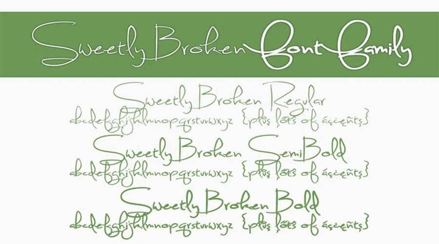 Sweetly Broken Font Family View
