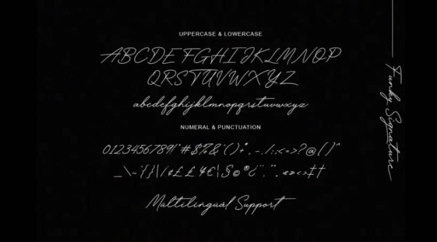 Funky Signature Font View
