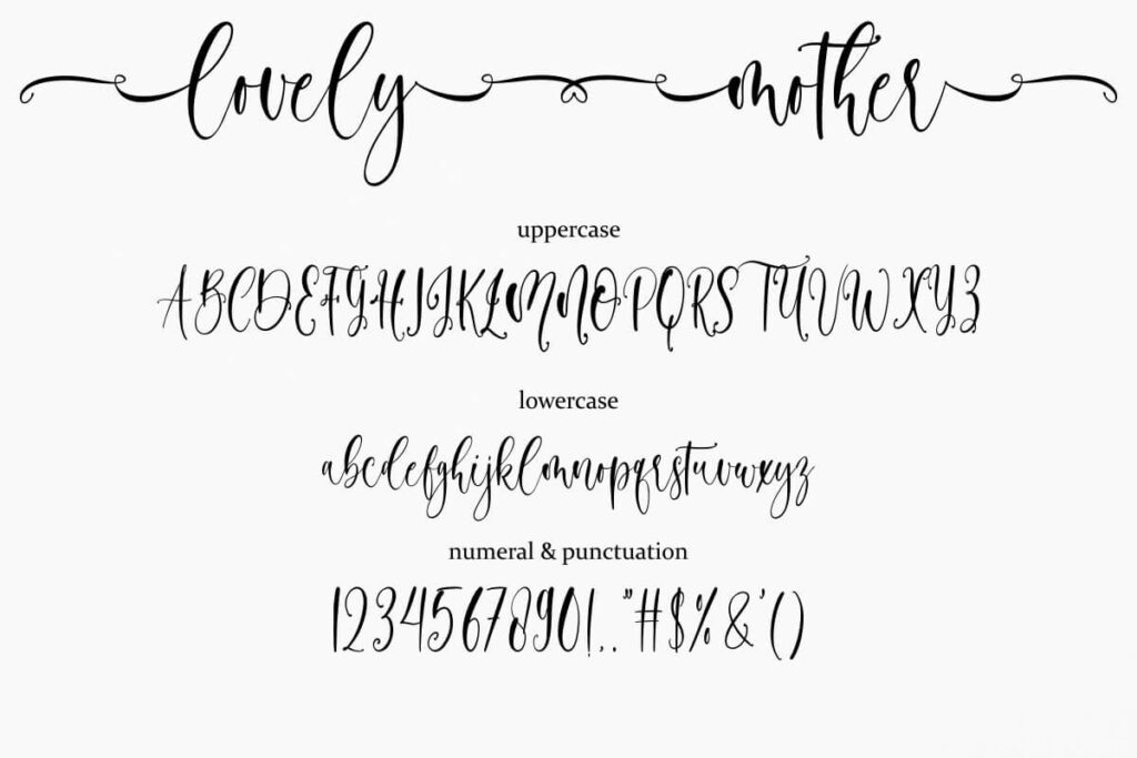 Lovely Mother Calligraphy Script Font View