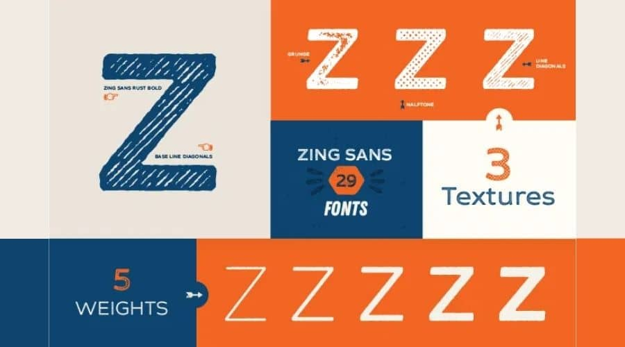 Zing Rust Font Family View